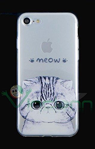 Film + étui Chat Meow Coque fine pour Iphone 74.7Case Transparent