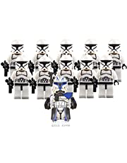 Clone Trooper Combat Team and Captain Rex Minifigures - 11/pcs Army Set : 1 Captain Rex and 10 White Clone Troopers - The Clone Wars Battle