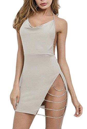Oberora-Women Deep V-Neck Halter Chain Open Back Bodycon Club Mini Dress 1 US (Chain Back Halter)
