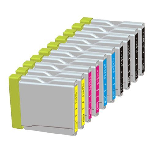 10 Pack. Compatible Cartridges for Brother LC-51. Includes Cartridges for 4ea LC-51 Black + 2ea LC-51 Cyan + 2 ea LC-51 Magenta, 2 ea LC-51 ()