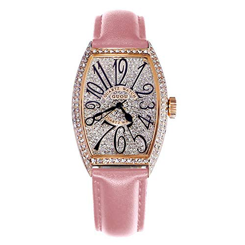 Luxury Rhinestone Quartz Women Watches, GUOU Square Dial Face Waterproof Ladies Watch Leather Strap 18MM