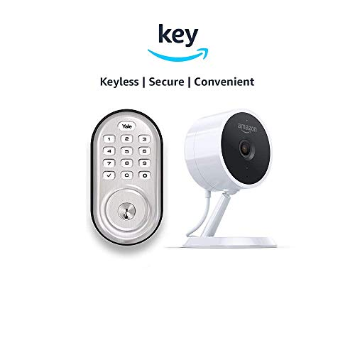 Yale Assure YRD216 Lock Push Button Deadbolt + Amazon Cloud Cam | Key Smart Lock Kit (Satin Nickel)