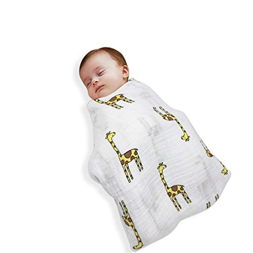 Swaddle Blanket by Blue Apple Baby | Baby Blanket |Receiving Blanket | Baby Gift | 100% Organic, Breathable Cotton to Bring Comfort to Your Baby with Durability That Lasts | Giraffe Print | Unisex