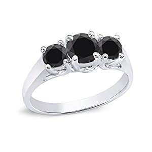 14k White Gold Round-cut 3-Stone Black Diamond Engagement Ring (1 cttw, Black)