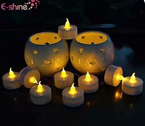 blau Doyeemei 12 x flackernde LED Teelichter Teelichter mit gratis Batterien