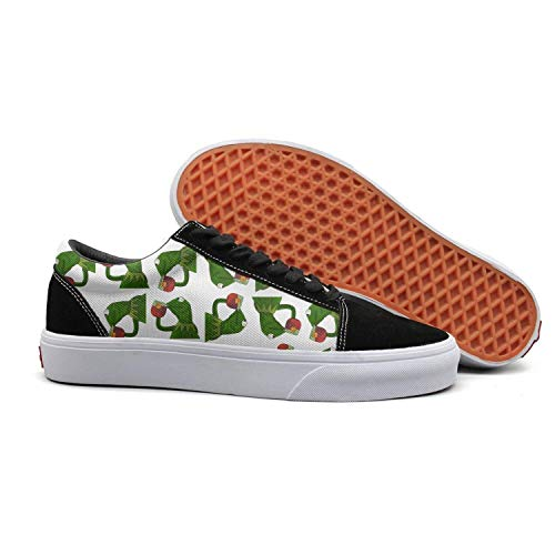 Women funny green frog sipping tea Fashionable Suede Walking Sneakers Shoes