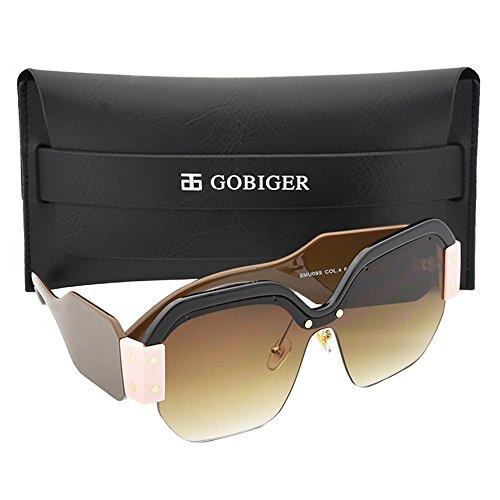 Gobiger Luxury Trendy Semi Rimless Sunglasses for Women Brand Designer Glasses - Popular Brand Sunglasses