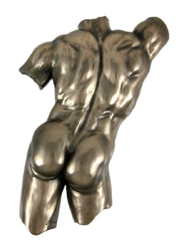 Bronze Finish Nude Male Backside Plaque Wall Decor Erotic Art