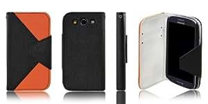 Xcessor Letter Flip Case Funda Carcasa Para Samsung Galaxy S3 i9300. Dos Colores. Tela Flexible. Negro / Naranja