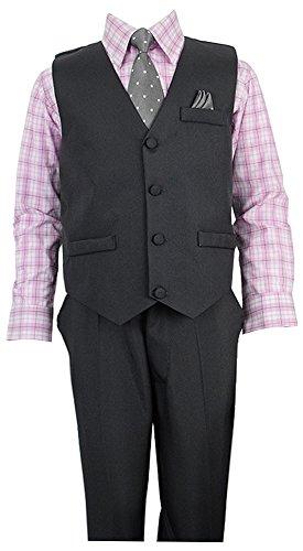 Vittorino Boys 4 Piece Suit Set with Vest - Boys Charcoal Gray Dress Pants