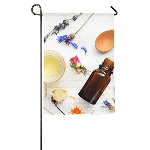 Skin Care Garden (EHAKB Davis Relev 12 x 18 inch Essential Oil Medicinal Plant Mix Herbal Skincare Ingredients Top View Aroma Dropper Bottle Family Garden House Home Demonstration Competition Flag)