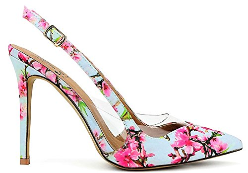 Beast Fashion India-01 Slingback Pointed Pointy Toe Clear Lucite Side Stiletto High Heel Pumps Floral Multi Color 8 (Heels Slingback High Womens Shoes)