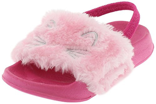 Toddler Pink Combo Footwear - Capelli New York Toddler Girls Simple Cat Slide with Embroidery and Elastic Backstrap Pink Combo 4/5