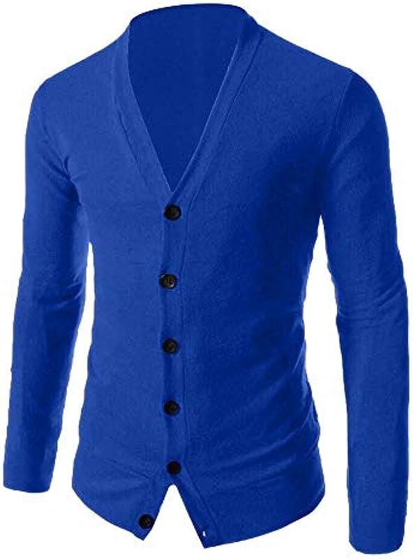 CICIYONER męska kurtka dziergana Cardigan drobno dziergana z dekoltem w serek i listwą guzikową ze 100% bawełny Slim Fit M-5XL: Odzież
