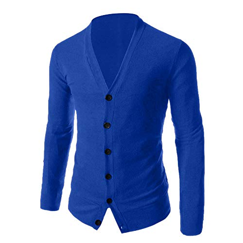 WOCACHI Final Clear Out Mens Knitted Sweater Pullover Button Bottoming Shirt Cardigan V-Neck Top Autumn Winter Long Sleeve Warm Sweatshirt (Blue, - Fab Designer Dog