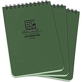 """Rite in the Rain All-Weather Top-Spiral Notebook, 4"""" x 6"""", Green Cover, Universal Pattern, 3 Pack (No. 946-3)"""