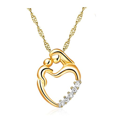 Mosaic Collection Pendant - Necklace, Hot Sale! Mother's Day Gifts for Mom and Baby Heart Mosaic Zircon Pendant Necklace Mom Gifts Charm Fashion Chain Gifts for Mum from Son Daughter Gifts (Gold, copper)