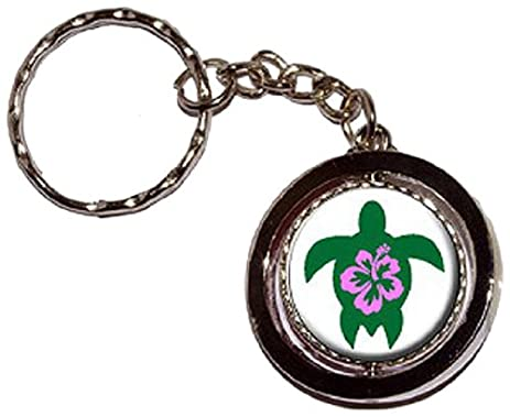 Amazon Hibiscus Hawaiian Turtle Round Spinning Keychain