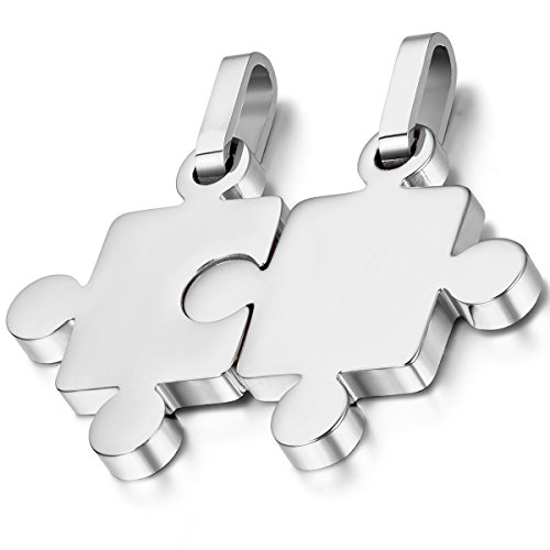 Flongo Men's Women's 2PCS Stainless Steel Silver Puzzle Matching Valentine Christmas Pendant Necklace Stainless Steel Puzzle