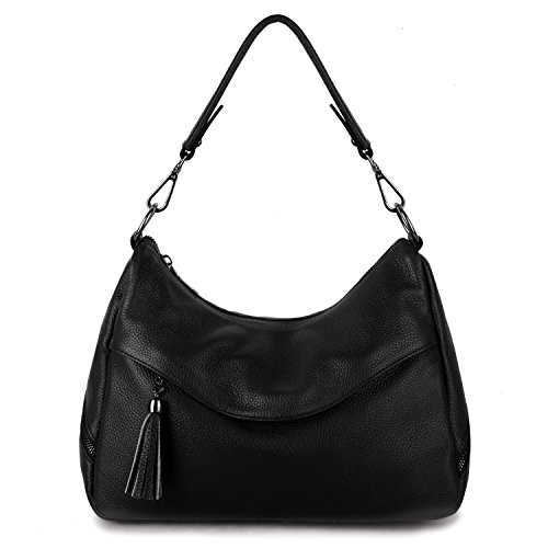 YALUXE Women's Cowhide Leather Purse Tote Shoulder Bag Hobo Handbag black