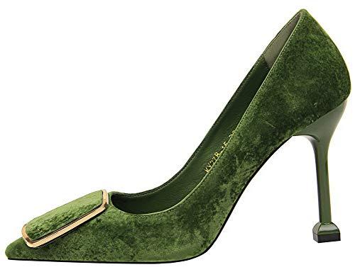Tissu Tire Pointu Vert Chaussures Femme Talon Gmbdb011653 Paillette À Haut Légeres Agoolar EXP5xwqT