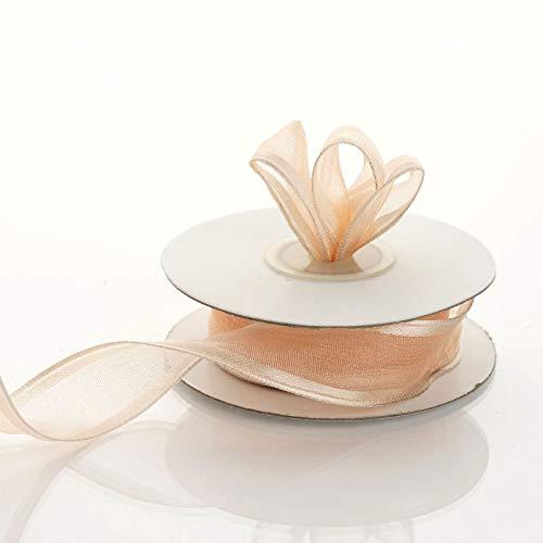 7/8 inch x 10 Yards Wired Satin Edge Organza Ribbon Wedding Favors Invitations(Peach) -