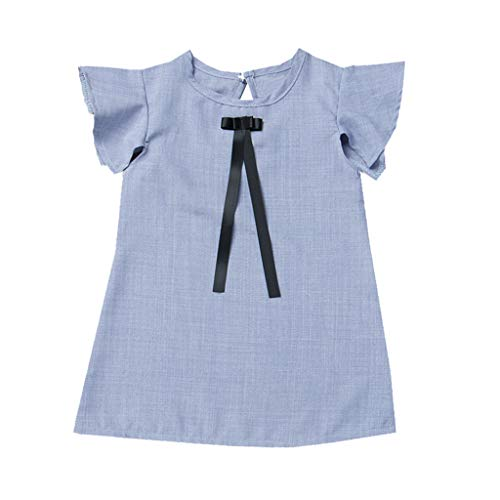 ✔ Hypothesis_X ☎ Summer Infant Baby Girls Fly Sleeve Bow Clothes Dresses Solid Cute Straight Dress Blue
