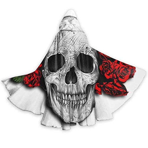 BEASDEN Adult Halloween Costume Skulls Red Roses Hoodie Devil Vampire Wizard