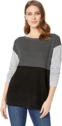Vince Camuto Womens Long Sleeve Crew Neck Color Block Sweater Medium Heather Grey ()