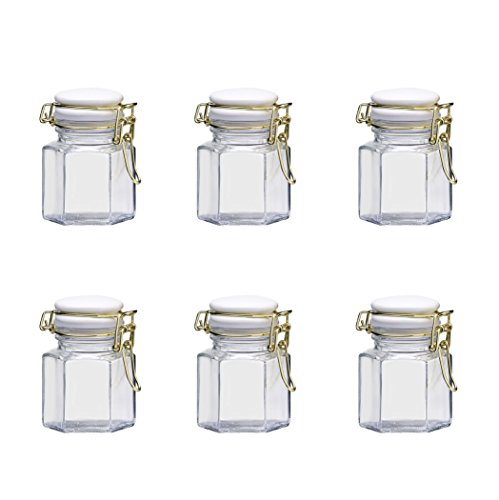 4 Ounce Clipper (Amici Home, 7CN532S6R, Olivia Spice Jar, Hermetic Preserving Glass Canister, Gold Clippers, White Ceramic Lid, Food Safe, 4 Ounces, Set of 6)