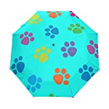 Naanle Color Kitten Cat Paw Dog Paw Puppy On Blue Auto Open Close Foldable Umbrella