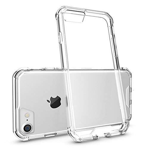 Price comparison product image iphone 7 Case, AICOO YCL Slim Transparent Crystal Acrylic Shock Resistant Camera Protection Air Hybrid Clear Phone Case Cover For iphone7 4.7 inch, White / Clear