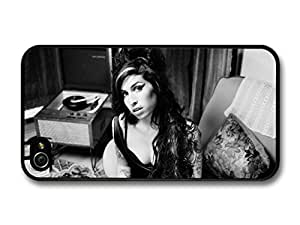 AMAF ? Accessories Amy Winehouse Black and White Portrait with Vinyl case for iPhone 4 4S