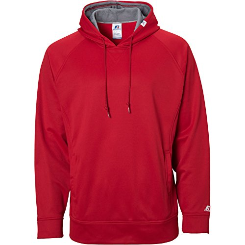 Russell Athletic Men's Technical Performance Fleece Hood Sweatshirt, True Red/Steel, XX-Large