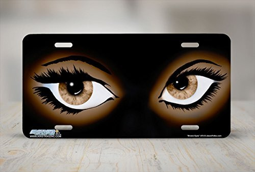 Novelty License Plate Frame Tag for Men Brown Eyes Car Tag Covers Chrome Plate Frame