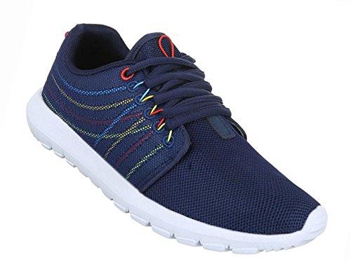 Damen Schuhe Freizeitschuhe Sportschuhe Schnürer Schwarz Blau
