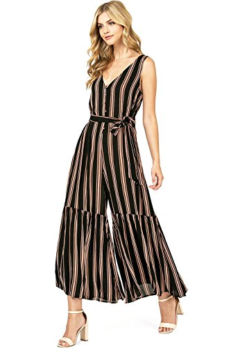 Flying Tomato Women's Juniors Stripe Bohemian Wide Leg Jumpsuit (M, Black/Tan)