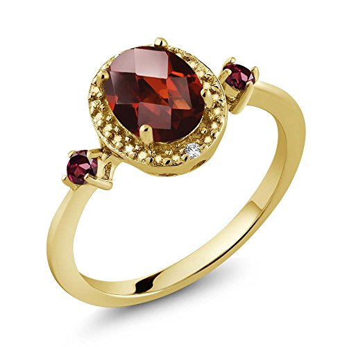 Gem Stone King 1.59 Ct Oval Checkerboard Red Garnet Red Rhodolite Garnet 18K Yellow Gold Plated Silver Ring With Accent Diamond
