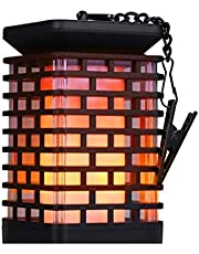 Mainstayae أضواء شمسية معدنية تومض اللهب الفانوس الشمسية في الهواء الطلق شنقا الفوانيس الإضاءة الشمسية تعمل بالطاقة الشمسية ماء مظلة أضواء اللهب لحديقة فناء الطريق