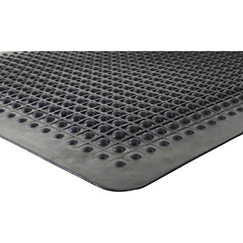 Genuine Joe Flex Step Anti-Fatigue Mat - 3' Length x 2' Width - Rubber - Black