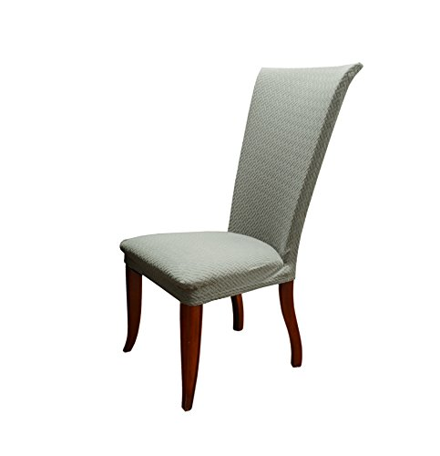 Linen Store Basket Weave Texture Dining Chair Cover, Stretch Form Fitting  Fabric Parson Chair Slipcover (Gray)