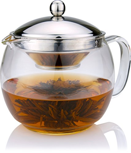 Glass Teapot with Infuser for Blooming and Loose Leaf Tea ...