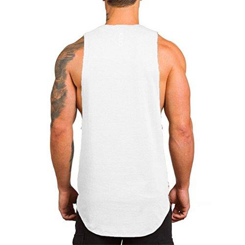 Muscle Pure O Couleur Débardeur Gymnases Blanc Vrac Aptitude cou En Hommes Manches Gilet Musculation Euzeo Sans shirt Maillot La T Décontractée PYvCq