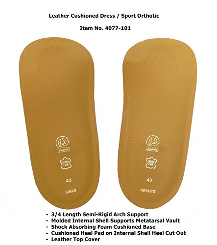 Emsold Cushioned Dress Sport Orthotic – Thin 3/4 Length Semi-Rigid Arch Support Insole For Men & Women – Relieves Pain From Plantar Fasciitis, Arthritis, Heel Spurs, Morton's Neuroma & (Cushioned Leather Insole)