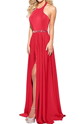 La mia Braut Elegant Wassermelon Chiffon Neckholder Abendkleider  Partykleider JugendweiheKleider festlichkleider Lang Rot EYRvOr1 2977a9e864