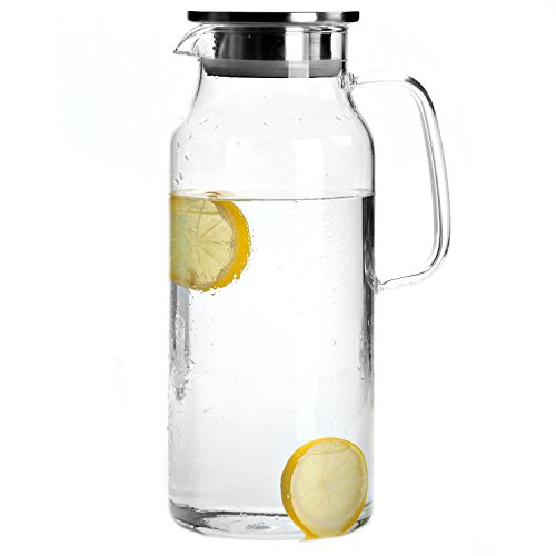 Cupwind 68 oz Borosilicate Glass Hot/Cold Water Carafe Tea Pitcher with Stainless Steel Infuser Lid (Stainless Steel Infuser Lid With)