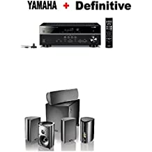 Yamaha Bluetooth Audio & Video Component Receiver Black (RX-V385BL) + Definitive Technology Pro Cinema 800 System Black Bundle