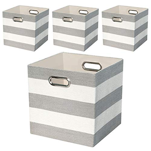 Storage Bins Storage Cubes 11 11 Collapsible Storage Boxes Containers Organizer Baskets For Nursery Office Closet Shelf 4pcs Grey White Striped On Galleon Philippines