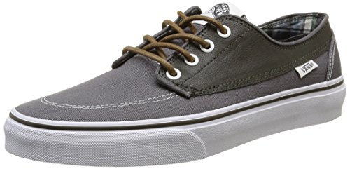 VANS Men Brigata Casual Classic Boat Shoes (8 B(M) US Women / 6.5 D(M) US Men, Leather/Plaid Asphalt/beluga) (Footwear Plaid Canvas)