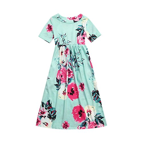 Fashion Toddler Kid Baby Girl Flower Print Princess Party Long Dress Outfits Clothes 2-10 Years (Green, 4T)
